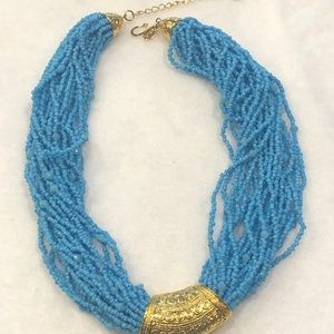 KENNETH JAY LANE FAUX BLUE BEAD TORSADE NECKLACE